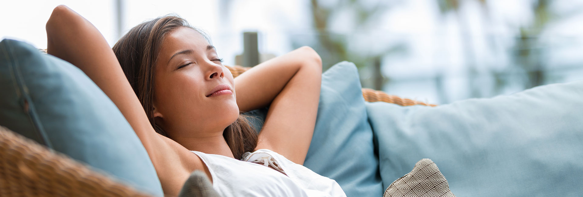 Woman Relaxing While On Vacations