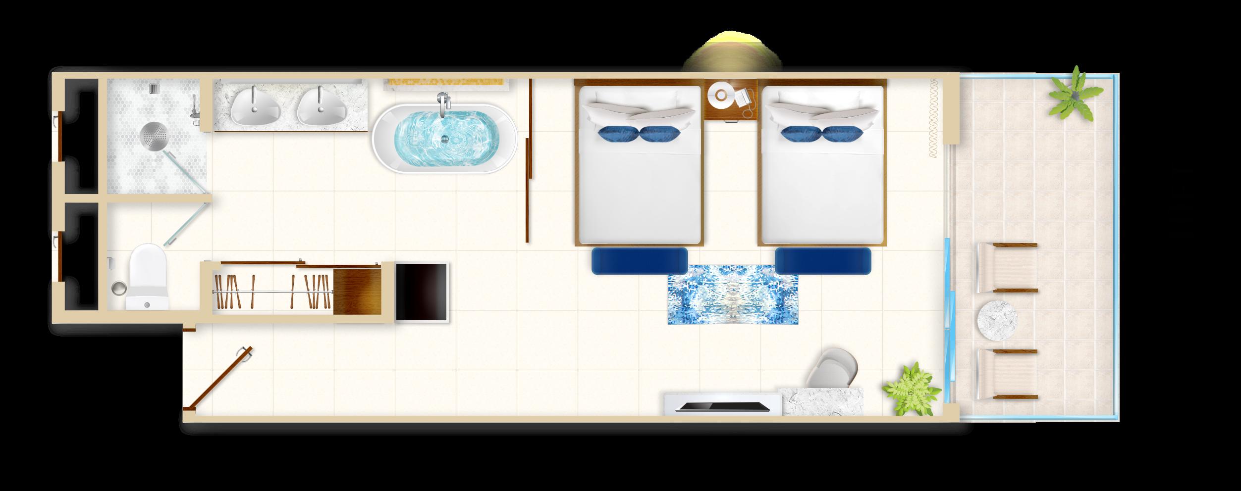 Deluxe Studio Pool View Floor Plan